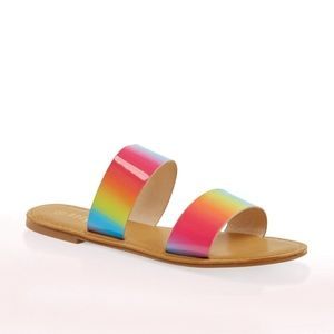 Shoes - Rainbow pride colorful bright sandals NWT 7.5